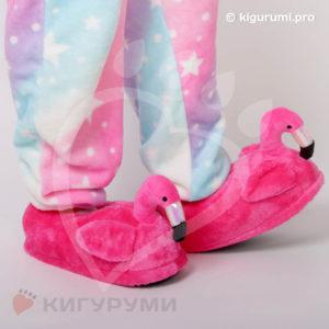 Тапки-игрушки фламинго малиновые